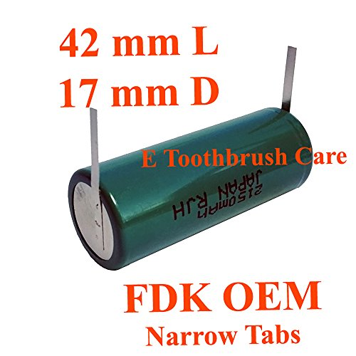 (FDK OEM NiMH Replacement Battery compatible with Braun Oral-b Type 3731 or 3745 Toothbrush, with Narrow tabs (42L x 17D mm, 2150 mAh))