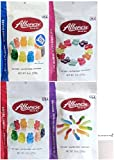 Albanese Gummy (4) Pack 12 Flavor Gummy Bears 9 ounce, Mini Worms 9 ounce, Mini Butterflies 9 ounce and Super Sour Kids Gummie Bears 8 ounce with Magnetic Notepad Bundle