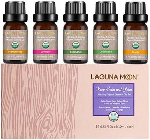Lagunamoon Essential Oils Set, Top 5 Essential Oil Lavender Eucalyptus Cedarwood Orange Frankincense for Diffuser, Humidifier, Massage, Aromatherapy, Skin & Hair Care