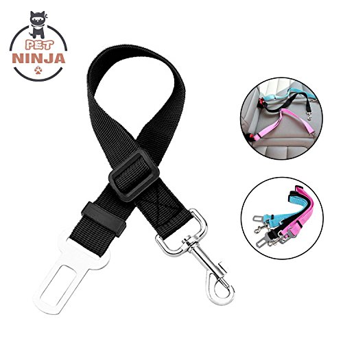 PETNINJA Adjustable Pet Dog Seat Belt Durable Cats Car Vehicle Seatbelt Harness Safety Leash Leads, Black