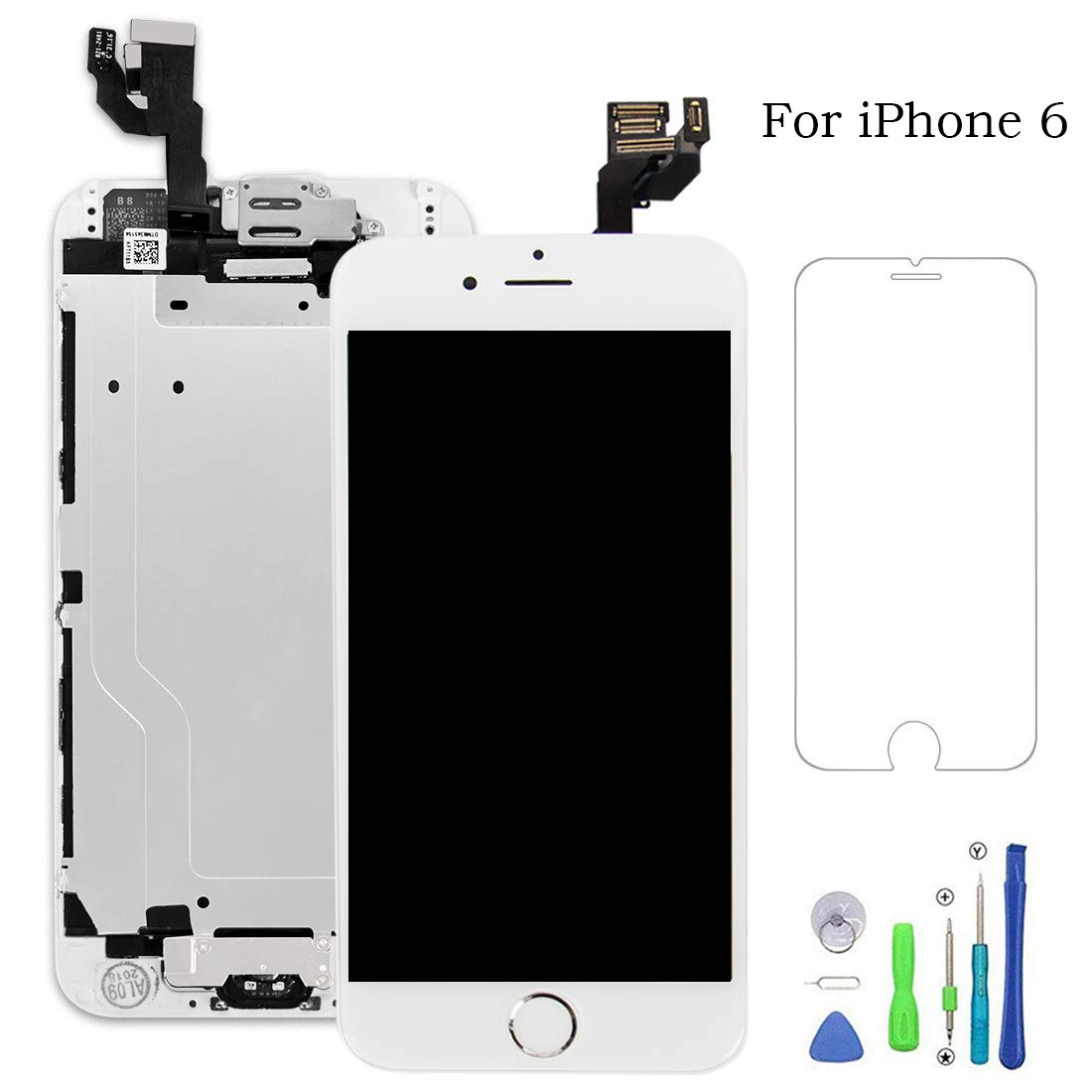 FFtopu Compatible with iPhone 6 Screen Replacement White,LCD Display & Touch Screen Digitizer Replacement Full Assmbly (Front Camera+Home Button+Sensor Flex+Speaker+Protector) with Repair Tools