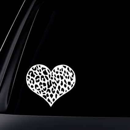 Leopard print heart car decal sticker white