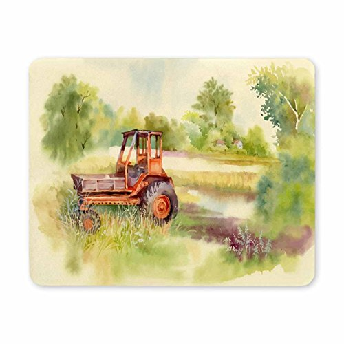 InterestPrint Customized Rectangle Mousepad Watercolor Tractor Machine in Yard Mouse Mat Computer Desk Stationery Accessories