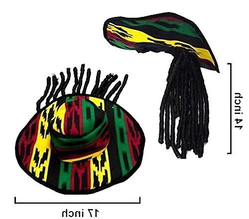 Brand New Rasta Reggae Pimp Hat with Long Dread Locked -