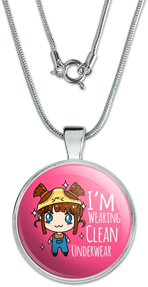 GRAPHICS /& MORE Im Wearing Clean Underwear Kawaii Chibi Pigtails 1 Pendant with Sterling Silver Plated Chain