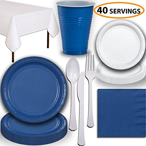 Disposable Party Supplies, Serves 40 - Blue and White - Large and Small Paper Plates, 12 oz Plastic Cups, Heavyweight Cutlery, Napkins, and Tablecloths. Full Two-Tone Tableware Set