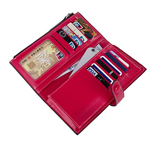 Baellerry Women Soft Leather Long Wallet Large Capacity Cluth Ladies Purse Card Holder (red) by Baellerry (Image #5)