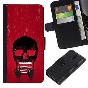 LECELL--Cuero de la tarjeta la carpeta del tirón Smartphone Slots Protección Holder For Samsung Galaxy S4 IV I9500 -- Cráneo Typewriter fresca --