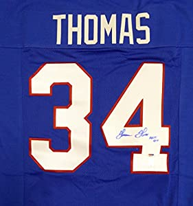 "Buffalo Bills Thurman Thomas Autographed Blue Jersey ""HOF 07"" In Blue PSA/DNA Stock #112368"