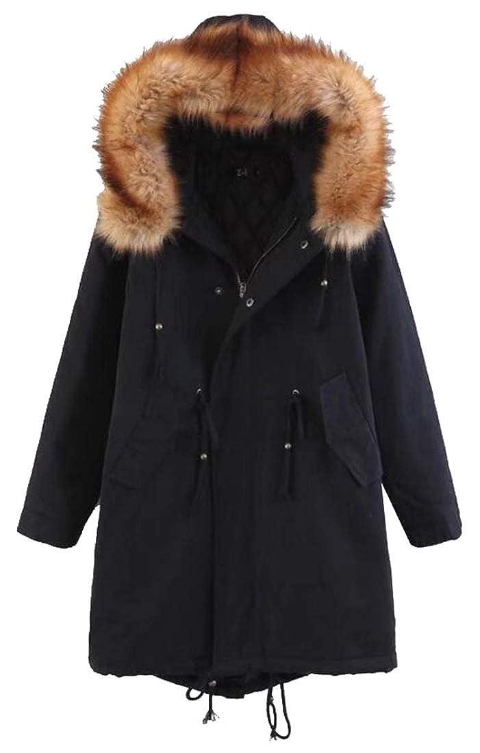 Black Sanderso Women's Long Sleeve Thicken Warm Hoodie Faux Fur Down Jacket Plus Size