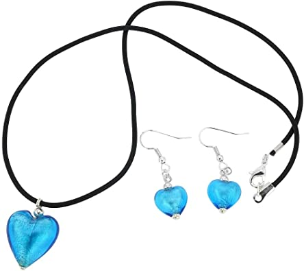 Set jewelry glass blue Earring and Necklace