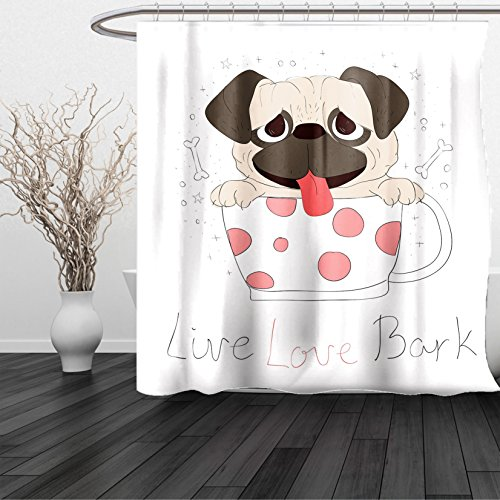 HAIXIA Shower Curtain Pug Live Love Bark Quote with a Cute Puppy in a Tea Cup Happiness Funny Image Pink Black Pale Pink