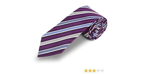 Corbata lila a rayas azul. 100% seda: Amazon.es: Ropa y accesorios