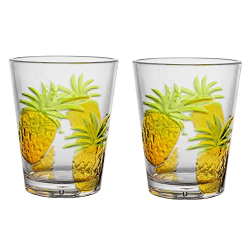 Gourmet Art 2-Piece Pineapple Acrylic 16oz DOF Tumbler Set