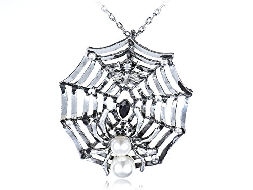 Alilang Charlotte's Spidey Web Bead Spider Crystal Rhinestones Long Pendant Necklace]()