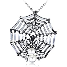 Alilang Charlotte's Spidey Web Bead Spider Crystal Rhinestones Long Pendant Necklace