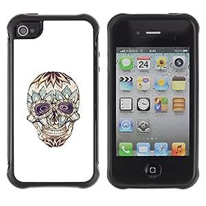 "Pulsar iFace Series Tpu silicona Carcasa Funda Case para Apple iPhone 4 / iPhone 4S , Floral Cráneo loco Muerte de tinta del tatuaje"""