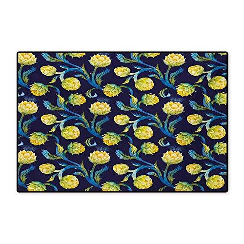 Artichoke Bath Mats Carpet Watercolor Artichokes Abstract Color Scheme Art Nouveau Customize Door mats for Home Mat 24