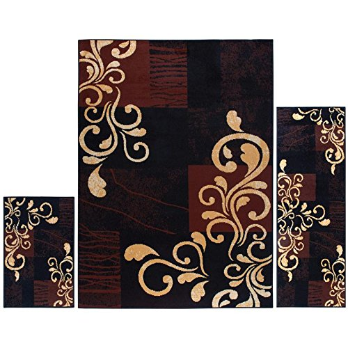 Home Dynamix Ariana Three-Piece Rug Set HD1879-502, Ebony | Complete The Look in Any Room | Area Rug, Runner, One Scatter Mat | Easy to Clean and Care for | Fade and Stain Resistant