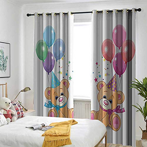 AndyTours Children Simple Curtain Cute Teddy Bears Sitting with Party Baloons Celebration Kids Toys Funny Design Simple Stylish 84