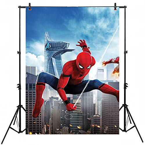 5x7 Vinyl Backdrops for Photography City Background Super Hero Spiderman Background for Birthday Party Customized Kids Backdrop for YouTube Videos]()