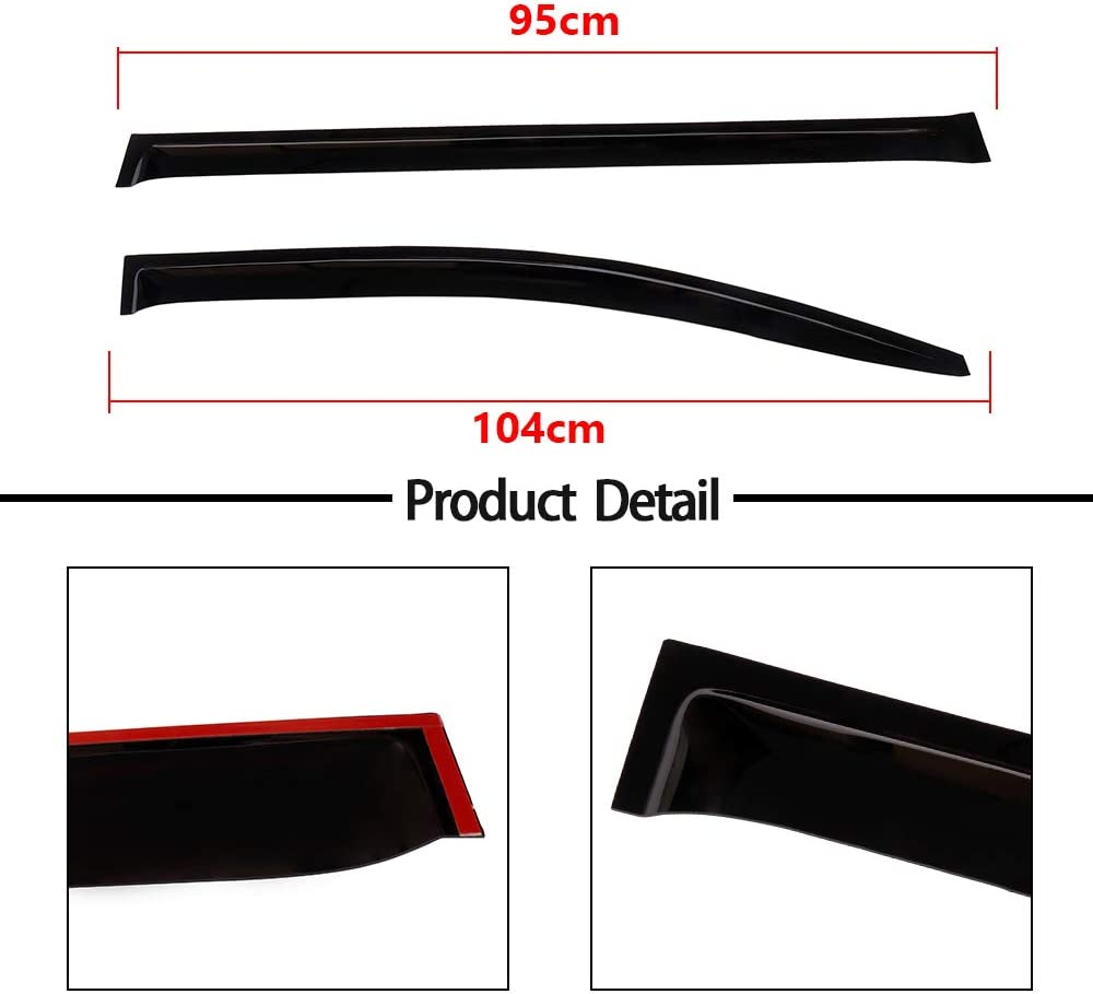 Ineedup Window Visors Fits for 2011-2017 Toyota Sienna,Tape-on Rain Guards 2pcs for Front Doors and 2pcs for Rear Doors Side Window Deflectors,4 Pieces