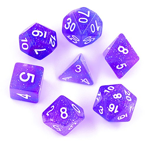 (Blue/Purple) - Polyhedral 7-Die Dice Set Galaxy Dnd Gaming Dice for Dungeons and Dragons Tabletop Roleyplaying & DnD Games By Hengda Dice