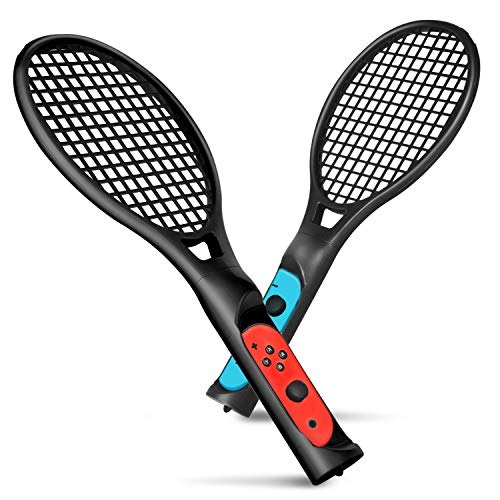 TNP Tennis Racket for Nintendo Switch Joy-Con Controller with Wrist Strap, Joy-Con Racket Accessories Twin Pack for Nintendo Switch Game Mario Tennis Aces - Black