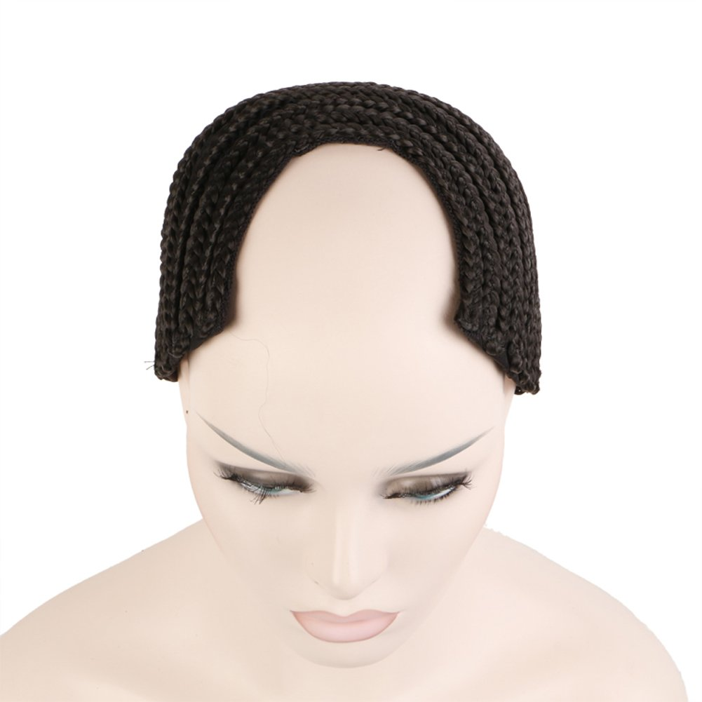 HairPhocas wigs Wave Cap Crochet Braided Combs Wig Cap for Easier Sew in Hair Wefts Black Medium Size (Horseshoe Style;U-Part Style) (Medium U-Part Style) by HairPhocas