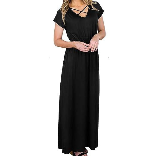 41ea9234215fa Hunzed Women Dress,Casual { Short Sleeve Beach Dress } { Solid Party  Sundrss }