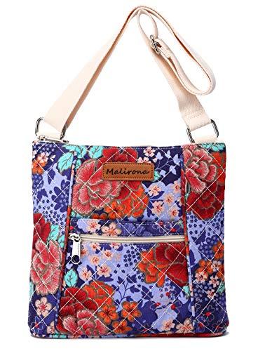 Malirona Women Crossbody Purse Hipster Cross Body Bag Canvas Shoulder Handbag Floral Design (Cherry Flower)