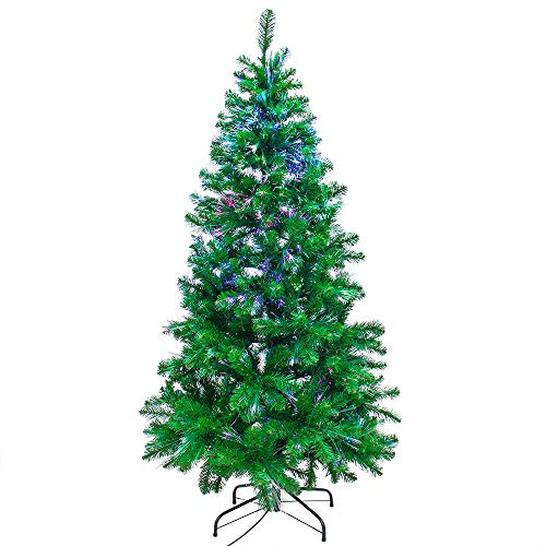 Signstek Prelit Fiber Optic Christmas Tree with 550 PVC Tips, 21 Flash Modes and Solid Metal Stand,6FT