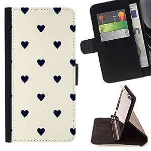 Momo Phone Case / Flip Funda de Cuero Case Cover - Modelo de punto Corazón Negro Beige - Samsung Galaxy S3 III I9300
