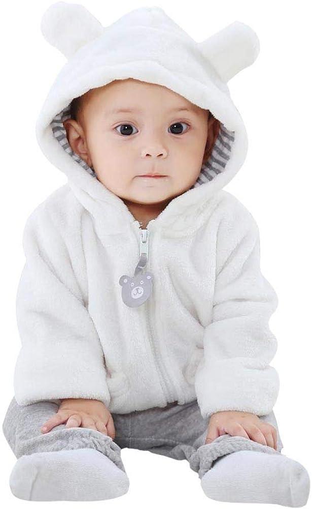 ELINKMALL Baby Newborn Boy Fleece Bear Ear Hoodie Zipper Long Sleeve Jacket Coat