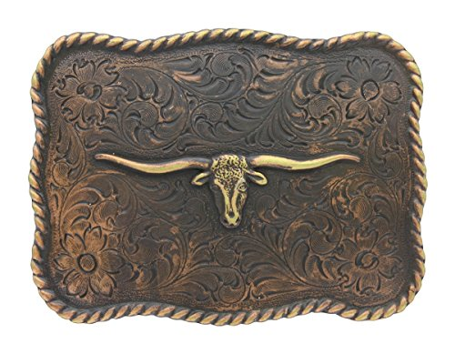 (Roped Edge Longhorn Steer Head Copper Finish Western Replacement Belt Buckle)
