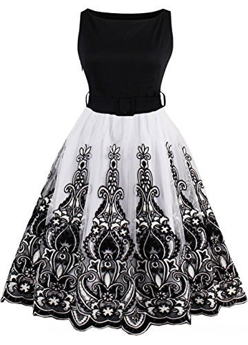 YAZACO Women's Plus Size 1950s Vintage Dresses Sleeveless Lace Cocktail Swing Dress Black 14 Plus (Vintage Crochet Dress)
