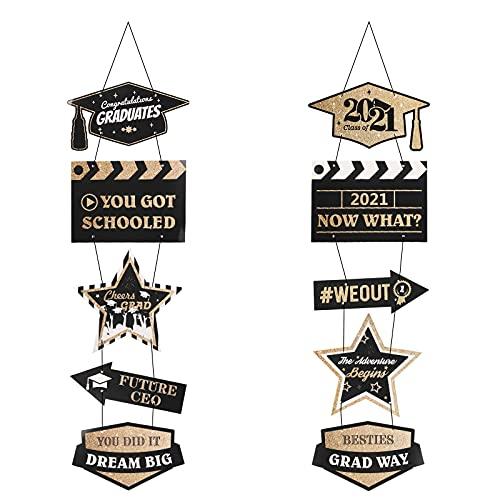 CINMOK Graduation Door Sign, 2 Pcs Congrats Grad Welcome Sign, Class of 2021 Graduation Hanging Porch Signs