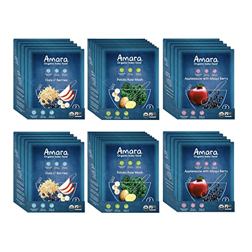 Amara Baby Food, Introduction to Textures, Healthy Baby & Infant Food, Organic Fruits, Veggies, and Cereals for Baby's First Meals – Apple Maqui Berry, Potato & Kale, Oats and Berries (34 Pouches)