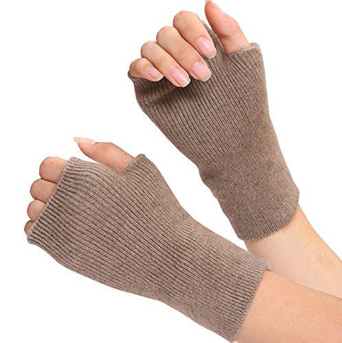 - Voyer Women's Winter Mink Cashmere Half Finger Gloves Cute Fingerless Gloves Mitts Christmas Xmas Gift for Girlfriend Wife Lover Mother (Khaki)
