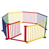 LAZYMOON Multicolored Wood Baby Playpen 8 Panel Kids Safety Play Center Yard Home Indoor Outdoor Fence