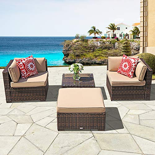 Super Patio Outdoor Conversation Sets, 4 Piece Outdoor PE Wicker Rattan Sectional Furniture Set with Beige Seat and Back Cushions, Steel Frame, Espresso Brown (Loveseat & Ottoman)