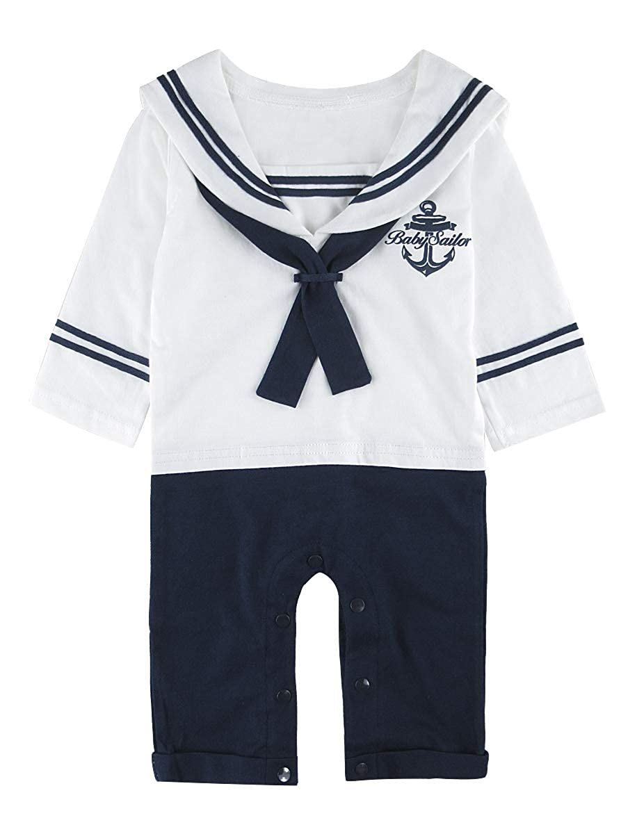MOMBEBE COSLAND Baby Boys Sailor Romper Outfit with Hat Long Sleeve