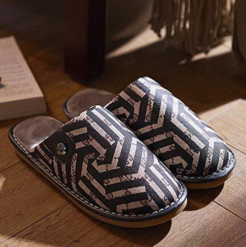 - Men's Keep Warm Slippers Casual Faux-Leather Slippers Home Bedroom Slippers Casual Brown Large for Women