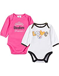 NFL Pittsburgh Steelers Girls Long Sleeve Bodysuit (2 Pack), 3-6 Months, Pink/White