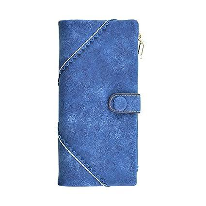 YTTX Moda Mujer Gran capacidad Cartera larga con el botón Monedero de cuero Billetera Bolso de la señora (Azul)