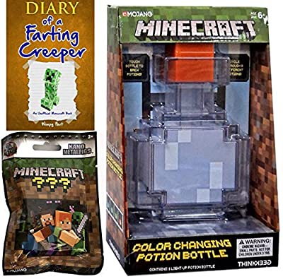 Creeper Potion Minecraft Mini Figure Character Blind Bag Metal Nano Series & Diary of a Farting Creeper + Color Changing Bottle Game Replica Bundle