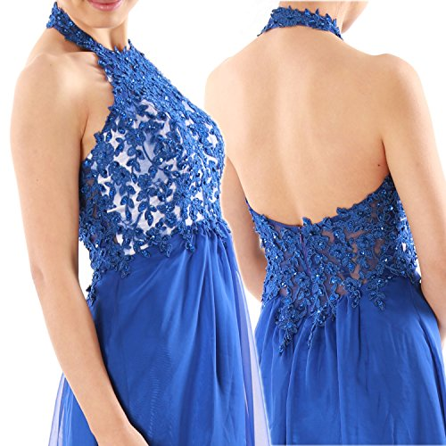 MACloth Women Halter Lace Chiffon Long Prom Dress Formal Party Evening Ball Gown Verde