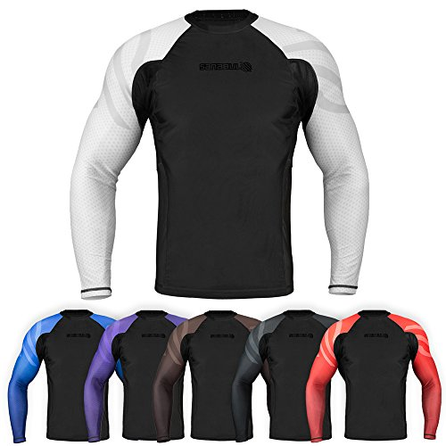 Sanabul Essentials Long Sleeve Compression Training Rash Guard for MMA BJJ Wrestling (Medium, White) rash guard mens bjj 6