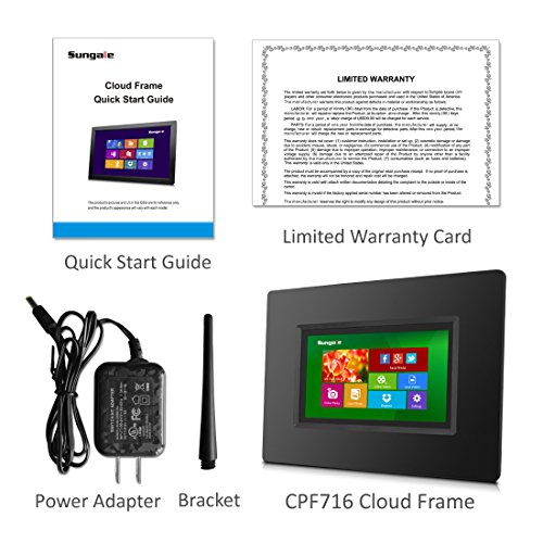 """Sungale CPF716 7"""" Smart Wi-Fi Cloud Digital Photo Frame with touch screen operation built in battery free Cloud storage real-time photos Movie Social Media Browser all apps"""