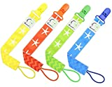 4 PACIFIER CLIP HOLDER SET By Elefuntot | Stylish Binky Clip Keeps Dummy Sanitary Secure & Safe From Falling, Chevron & Starfish Design, Unique Gift, Guaranteed